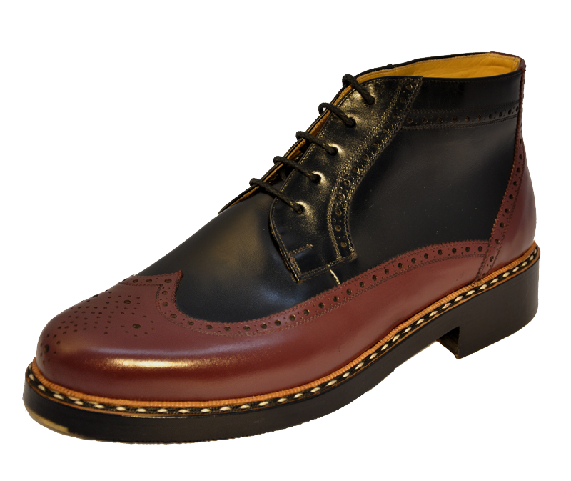 Buday Shoes - WT-08 - Winter Budapester - Box calf Black/Bordeaux Decoration goiser - Anti-skidding rubber and brass tip
