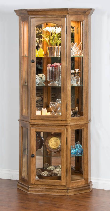 Sedona oak wood touch light side curio cabinet sunny