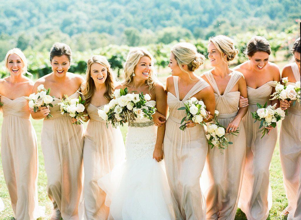 Beautiful Bride Grace Williams Bridesmaids Wearing Amsale In Fawn Crinkle Chiffon From BellaNashville Photographer