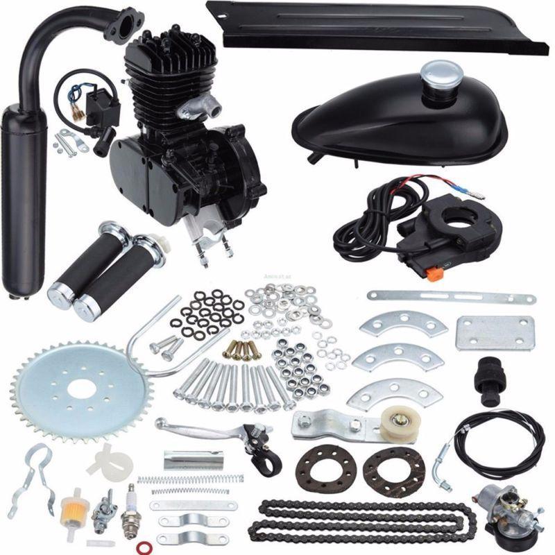 Black 50cc 2 Stroke Cycle Motor Kit Motorized Bike Petrol