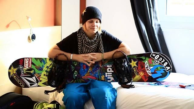 Olympic snowboarder Cheryl Maas with her snowboard.