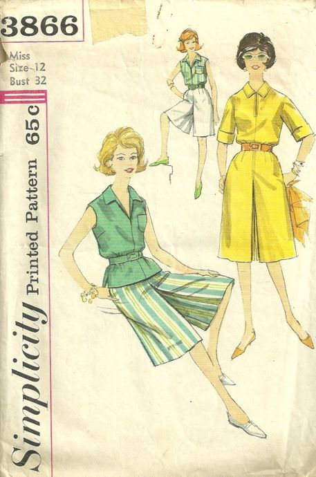 Simplicity 3866 1960s Misses Culottes and Blouse Pattern Womens ...