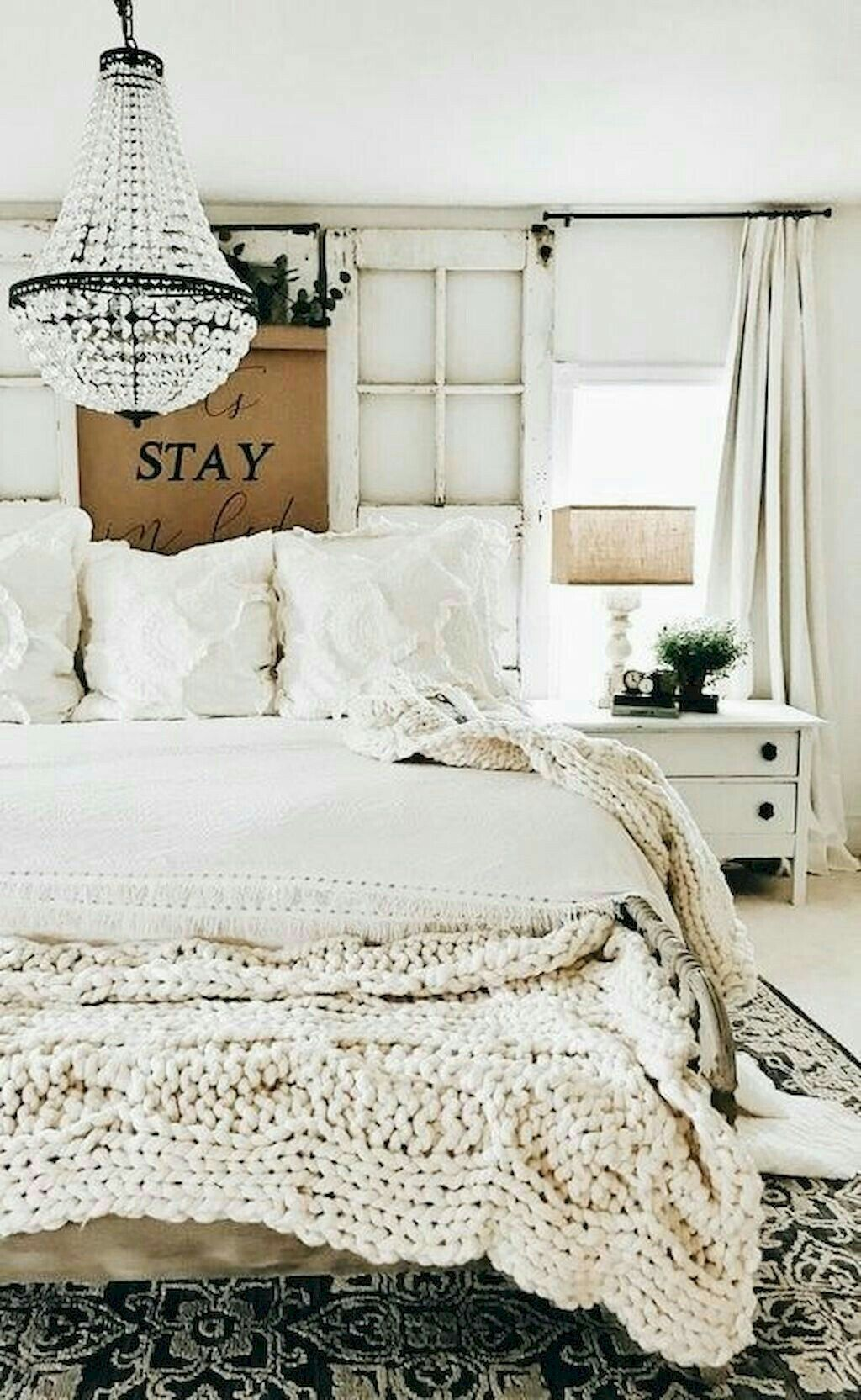 Headboards In Front Of Windows Beautiful White Shabby Chic Farmhouse Bedroom With Chandelier And