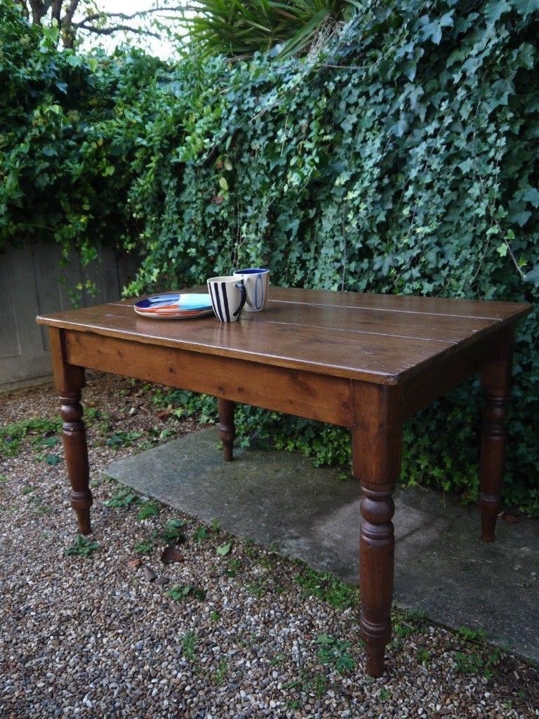 Antique Victorian Solid Wood Farmhouse Breakfast Dining