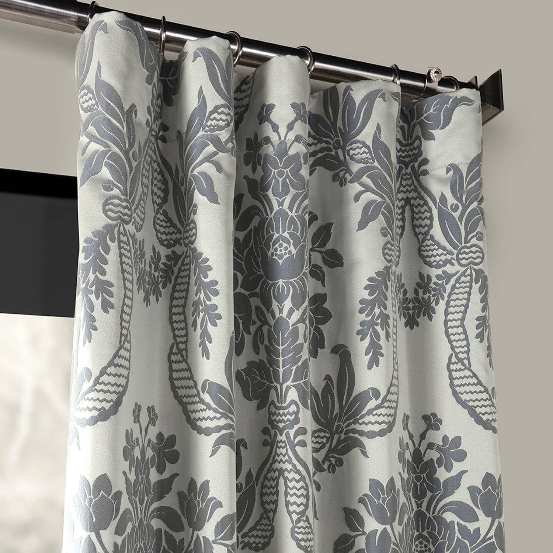 Magdelena Silver Blue Designer Damask Curtain Damask Curtains Curtains Drapes Curtains