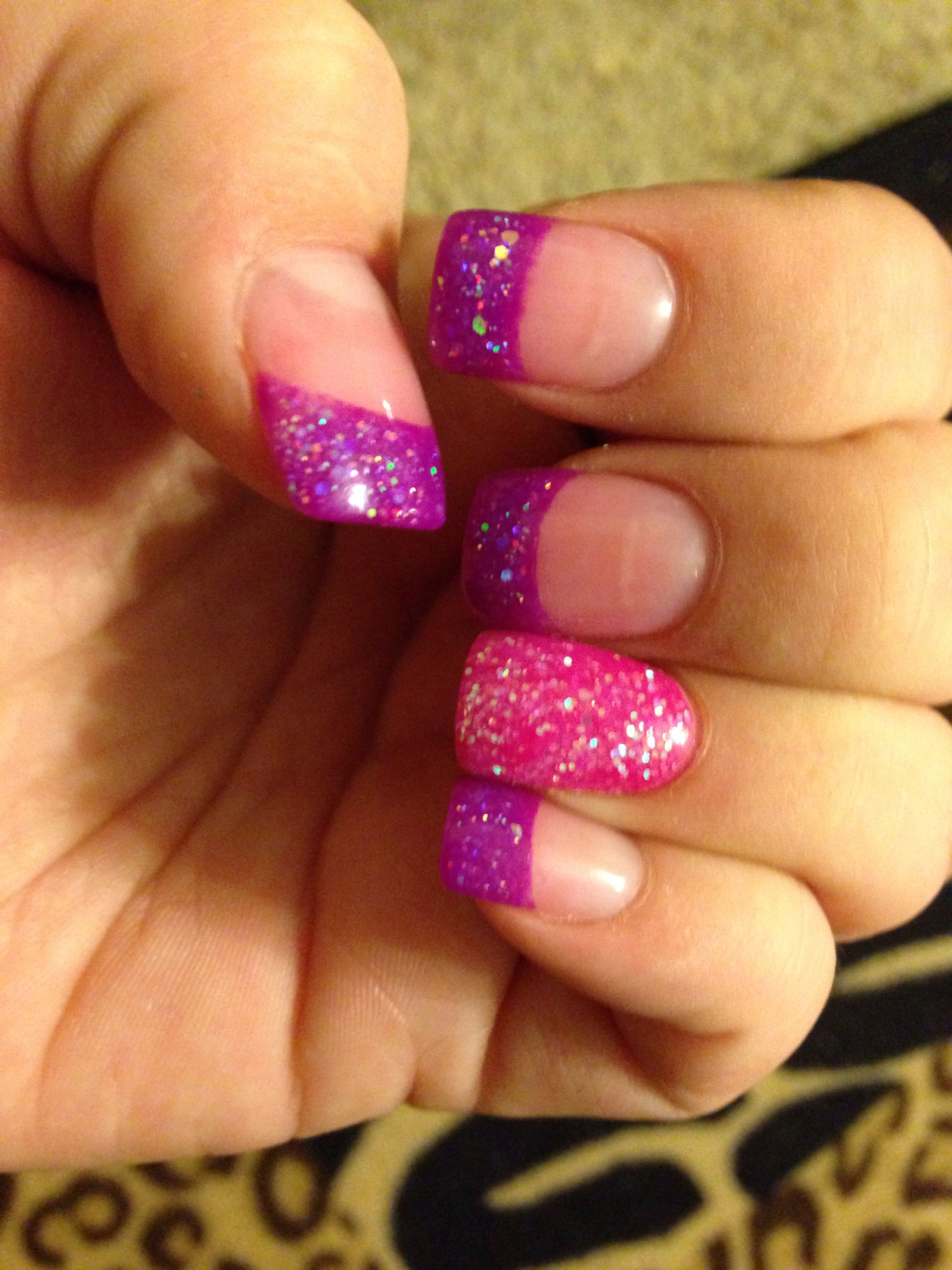 My current nails neon purple and hot pink glitter French solar tips ...