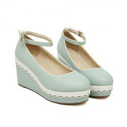 $14.92 Sweet Women's Wedge Shoes With Buckle and Color Block Design