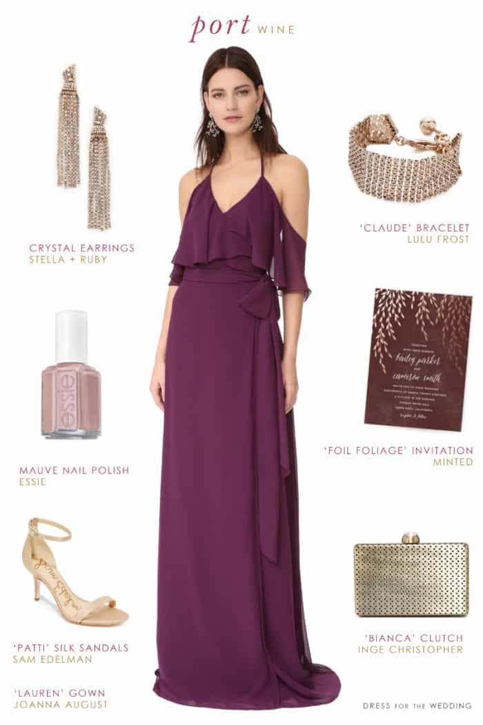 f5a1485eb38 Wine-Colored Bridesmaid Dress and Accessories Wine Color Bridesmaid Dress