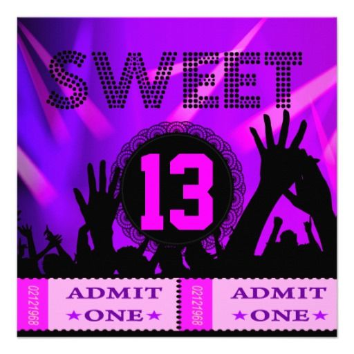 13th Sweet 13 Birthday Party Tickets Fun Card Party tickets 13th