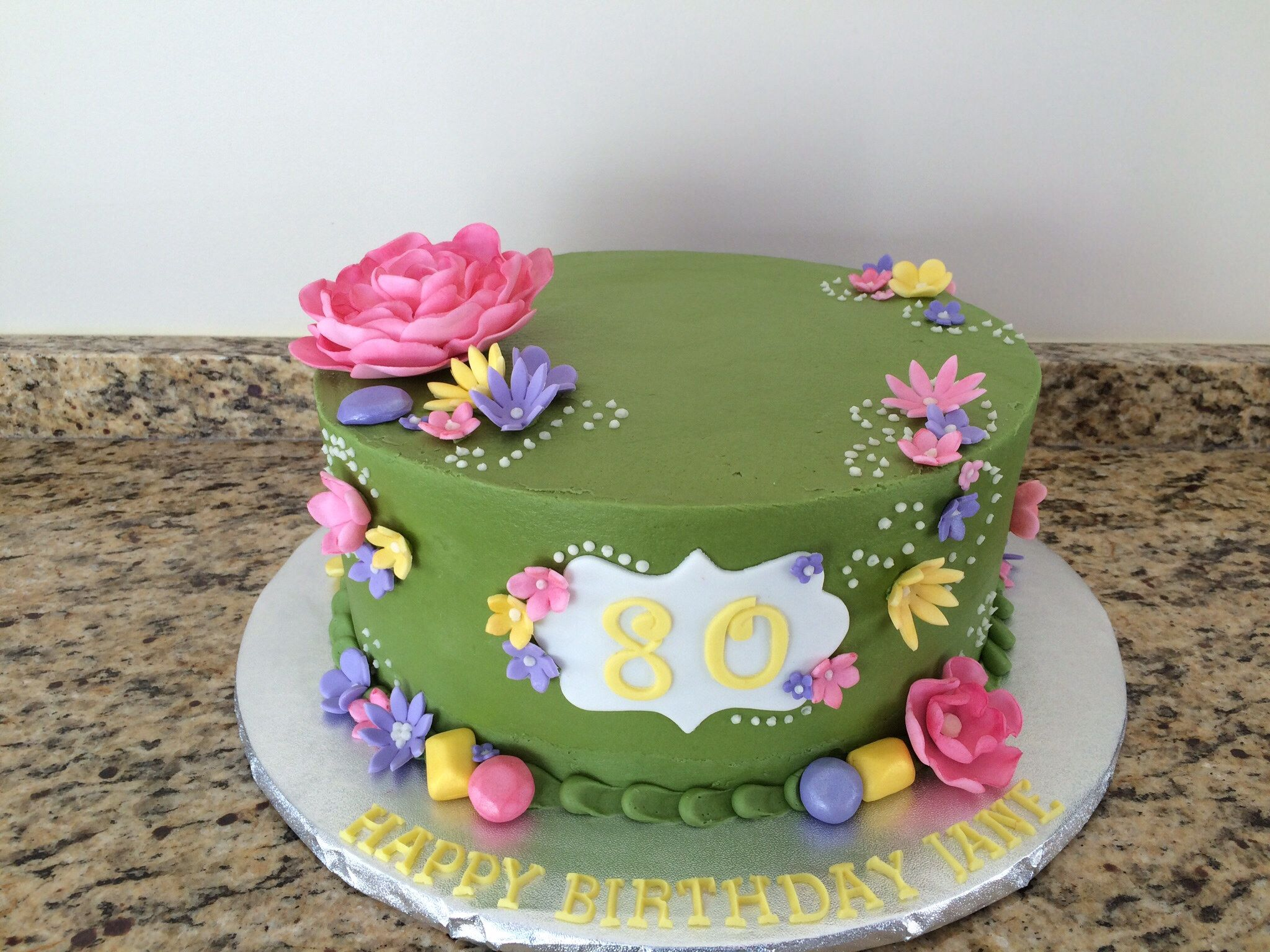 Spring Flowers 80th Birthday All Buttercream With Fondant Flowers
