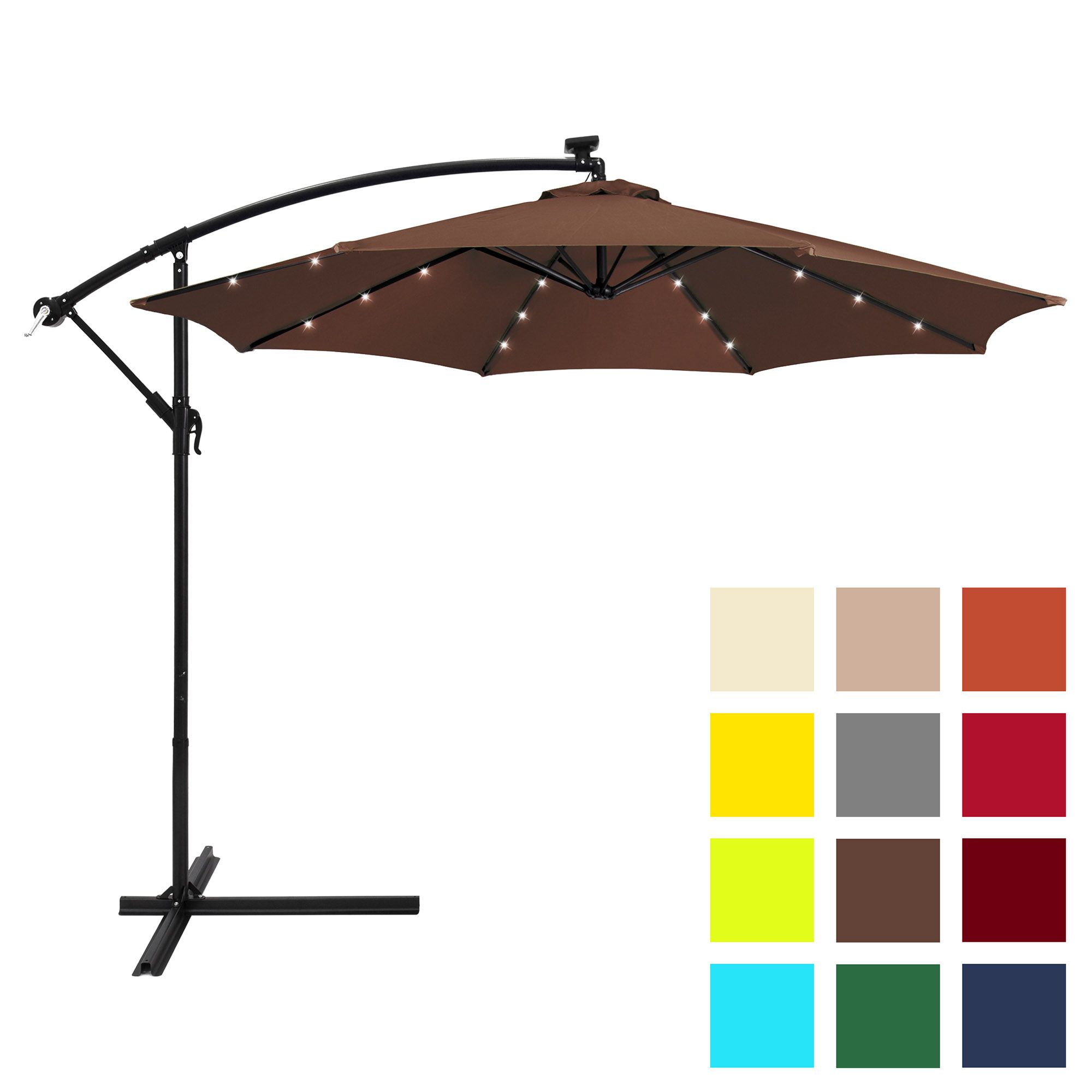 Best Choice Products 10ft Solar Led Offset Hanging Market Patio Umbrella W Easy Tilt Adjustment Polyester Shade 8 Ribs For Backyard Poolside Brown Walma Offset Patio Umbrella Patio Umbrella Offset Umbrella