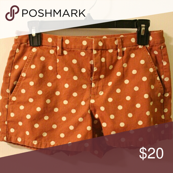 """Madewell Rust & White Polka Dot Shorts Madewell's brand Broadway & Broome Rust & White Polka Dot Shorts. Size 2. Very good used condition. 3"""" inseam. Madewell Shorts"""