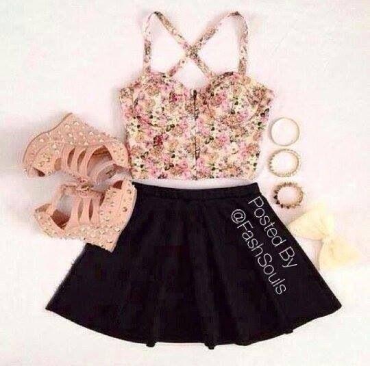 Floral bustier with black skater skirt!