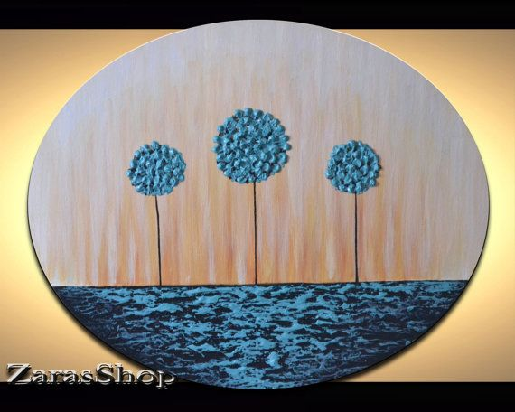 Modern art for kids room wall décor with unique heavy impasto textured abstract blue lollipop trees artwork. Transform any bare wall into a fun and