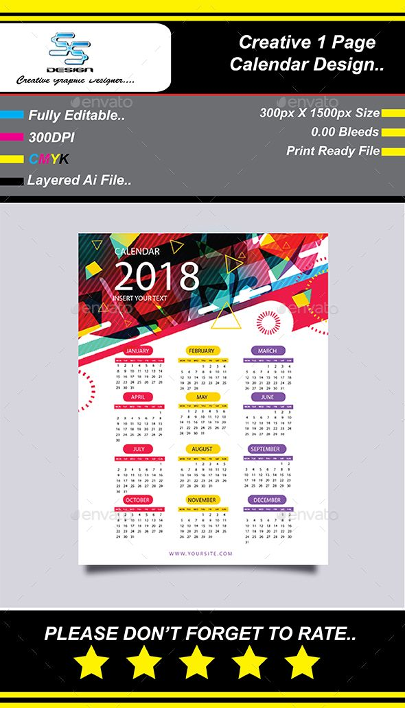 This Is 2018 Wall Calendar Planner Template Which Is 300 Dpi Print