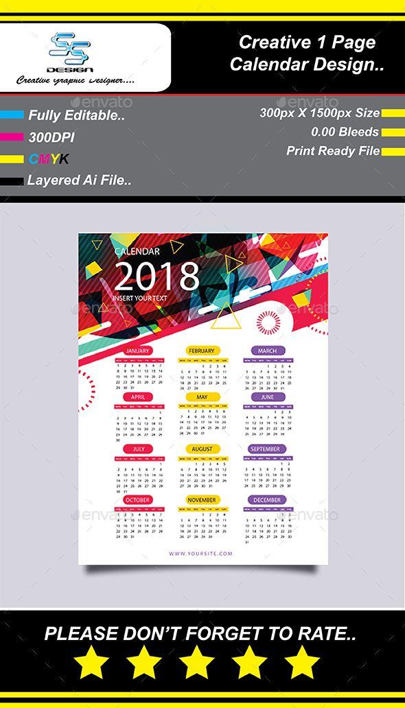 1 Page Wall Calendar 2018 Kalender Desain