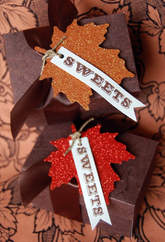Glittery Leaf Autumn Favor Kit. $16.98, via Etsy. The leaf tags are a great DIY idea