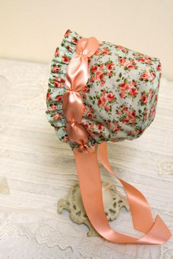 Peach Roses baby bonnet infant. photo prop. by StarlitesChild