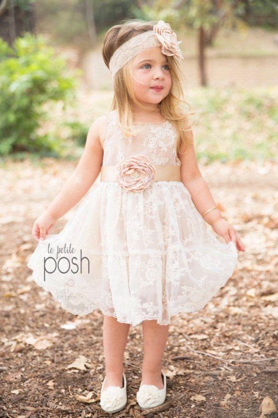 Flower girl dress, flower girl dresses, lace baby dress, rustic girl ...