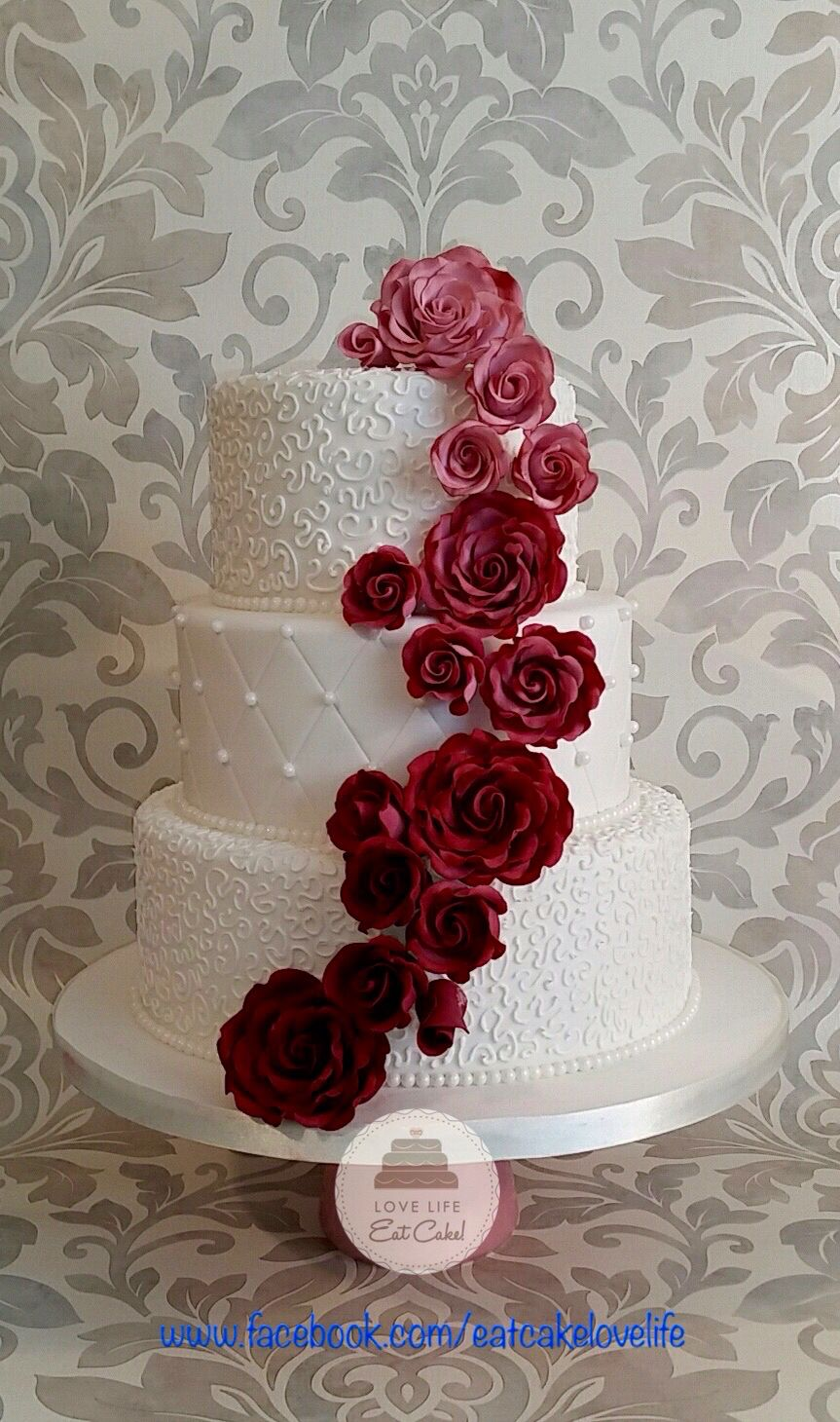 Burgundy ombré wedding cake 2016 … | Pinteres…