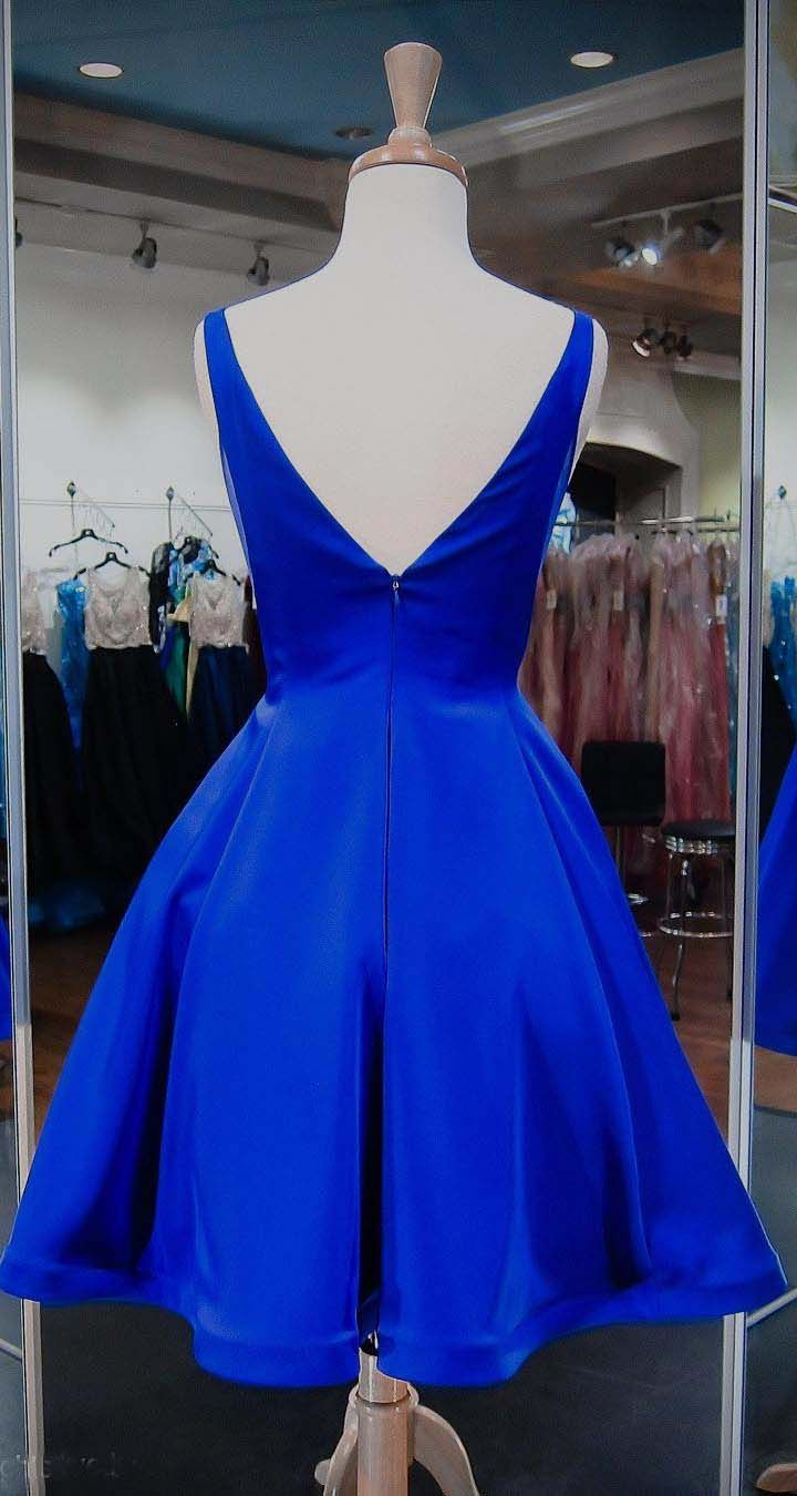 Simple royal blue homecoming dresses with v neckline sexy short