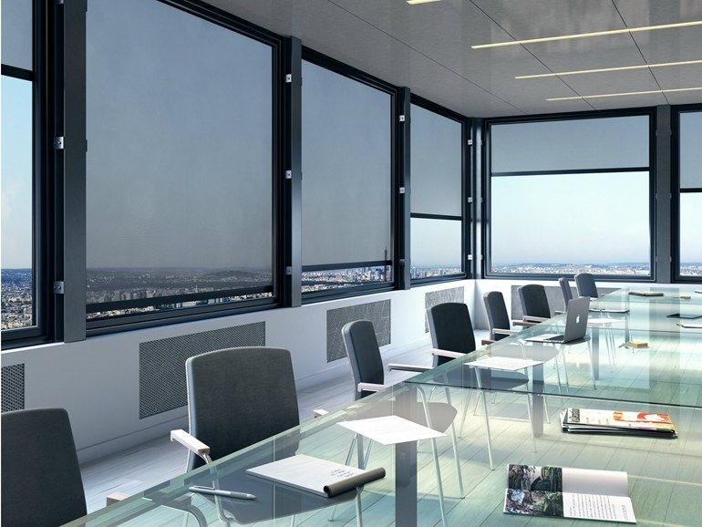 Fire Retardant Sun Protection Roller Blind Sunworker Open By