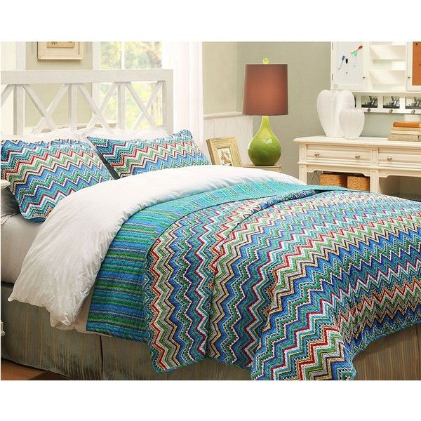 Blue ZigZag Full/Queen-size 3-piece Quilt Set | Overstock.com ... : overstock quilts king - Adamdwight.com