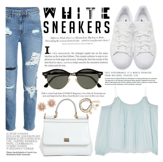 """White Sneakers"" by brenndha ❤ liked on Polyvore featuring Elizabeth and James, adidas Originals, Dolce&Gabbana, H&M, Ray-Ban, DesignSix, GetTheLook, DayToNight, gorgeous and Luxe"