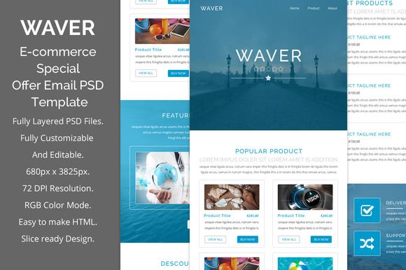 Waver e-commerce psd email template by QuickArtisan on ...