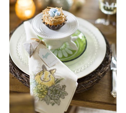 Honey Bunny Embroidered Napkins, Set of 4 | Pottery Barn