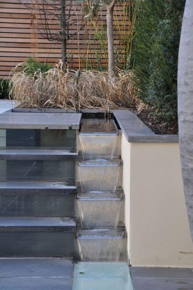 treppen-garten-betonplatten-wasserspiel-dekoratives-element Garten - exklusives treppen design