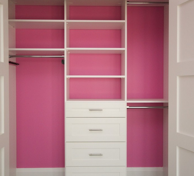 Small Walk In Closet Design Idea With Floor To Ceiling Wall