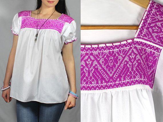 Mexican blouse tunic top Oaxaca Huipil fine hand embroidery Babydoll ...