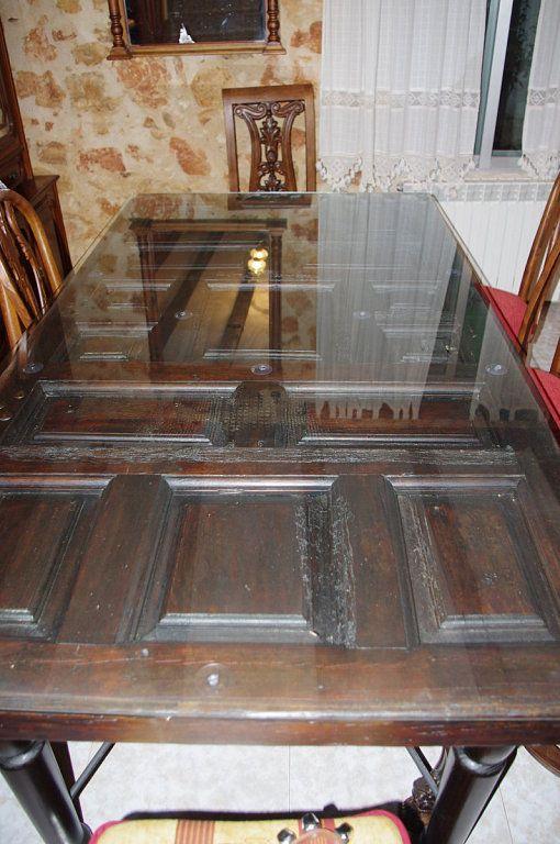 Puerta reciclada mesa puertas recicladas pinterest mesas for Mesas hechas con puertas de madera