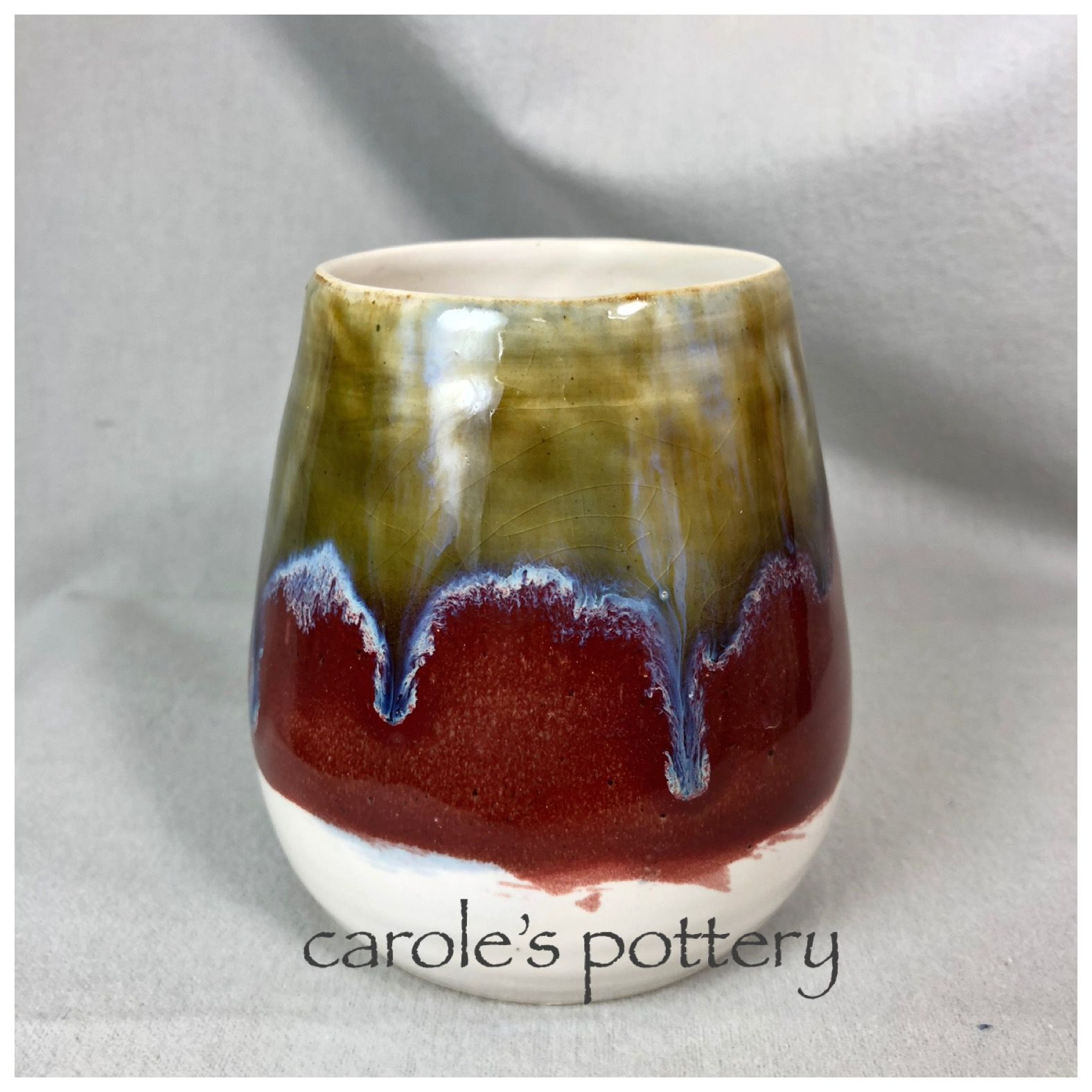Carole S Pottery Bottom 2 3 Satin Matte White 3x Top 2 3 Coyote Blue Purple 1 X And 1 3 Mayco Flux Middle Band 3x Deep Pottery Stoneware Stemless Wine Glass