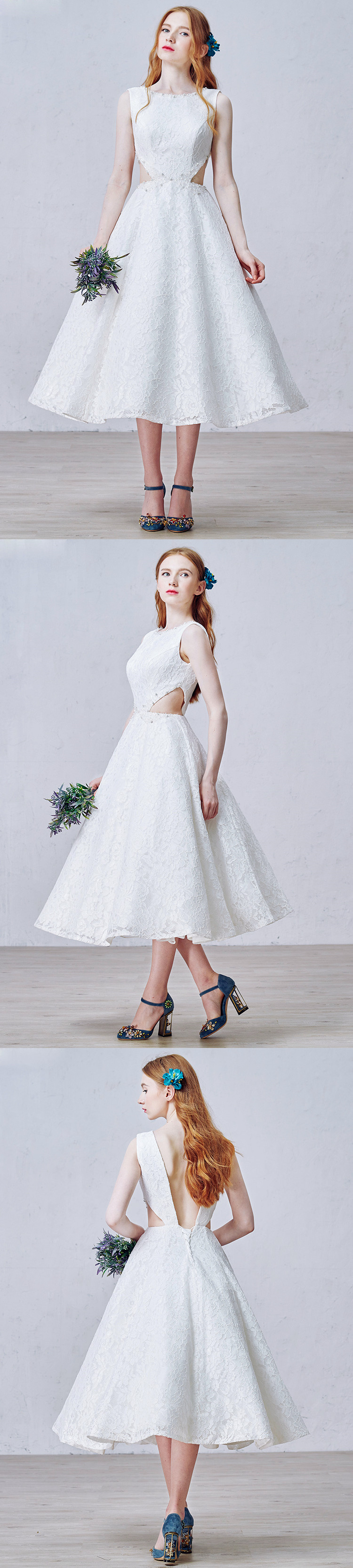 Custom made-to-order formal dress by GemGrace. Multiple colors and all sizes available. Additional photos also available upon request. Shop this vintage yet modern tea-length open waist wedding dress on GemGrace.com