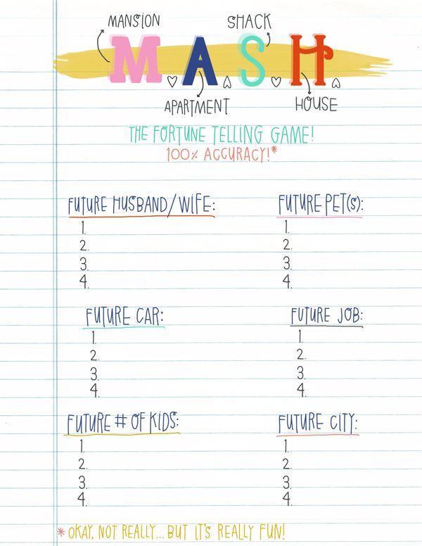 photograph about Mash Game Printable identify Throwback! Cost-free Printables Teenager sleepover, Snooze bash
