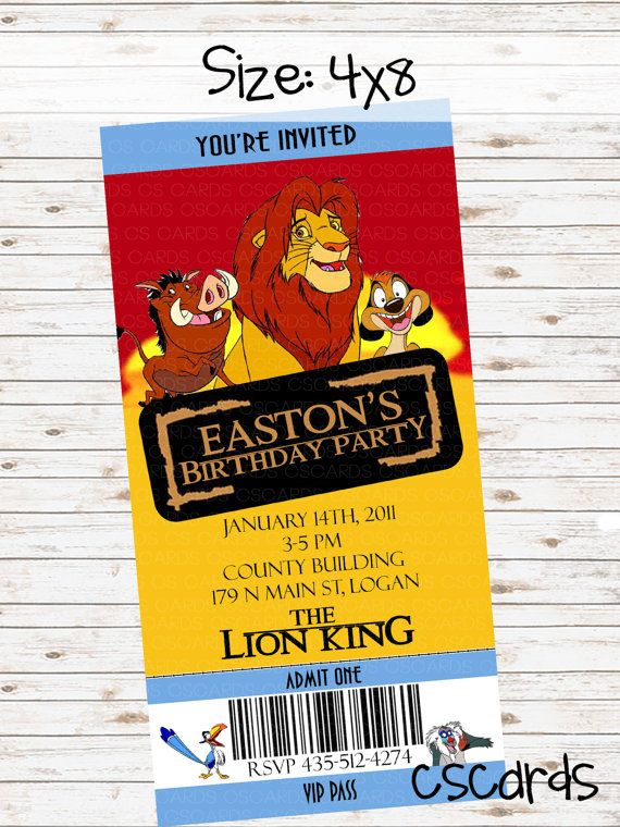 Lion King Birthday Party Invitation Digital Copy Only on Etsy