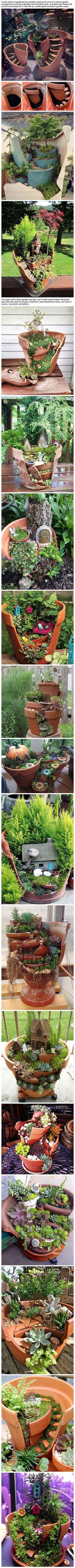 Broken pots turned into beautiful fairy gardens my designs in