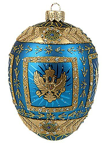 Faberge Inspired Blue Eagle Egg Polish Mouth Blown Glass Christmas - polish christmas decorations
