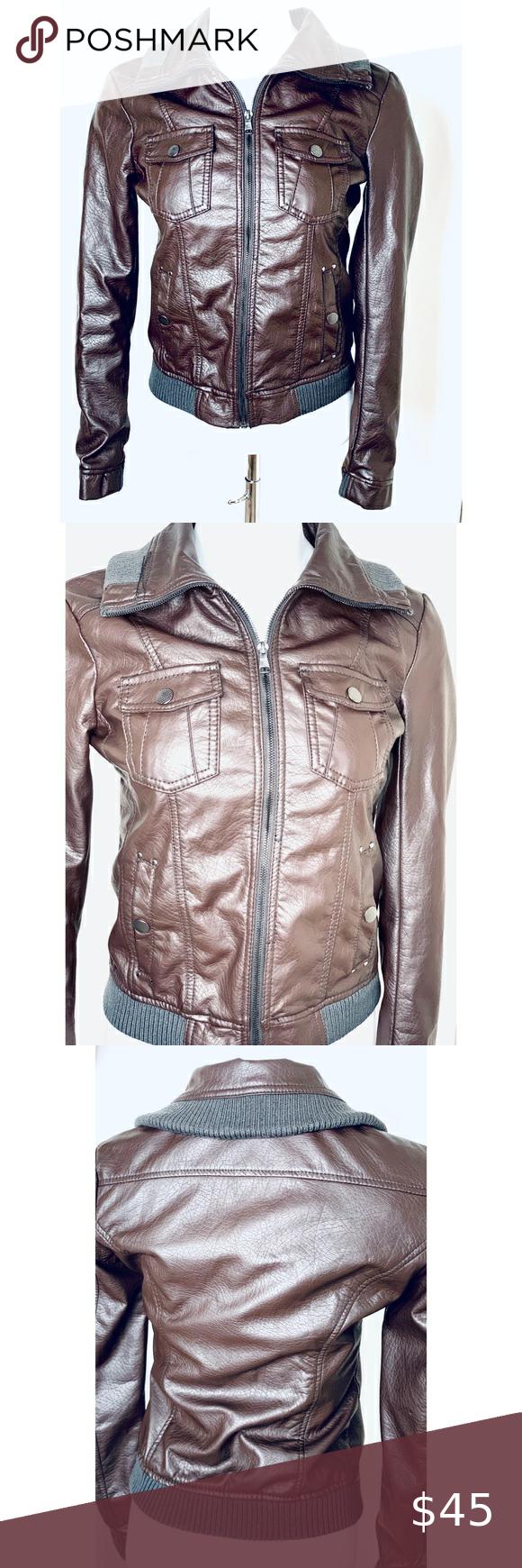 Ci Sono By Cavalini Faux Leather Jacket M Black Vegan Leather Jacket Faux Leather Jackets Brown Vegan Leather Jacket