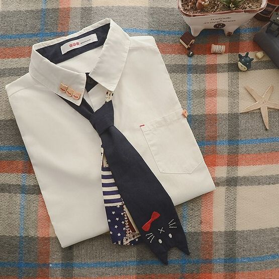 Botões de abertura de cama colarinho branco camisa de manga longa blusa mori menina