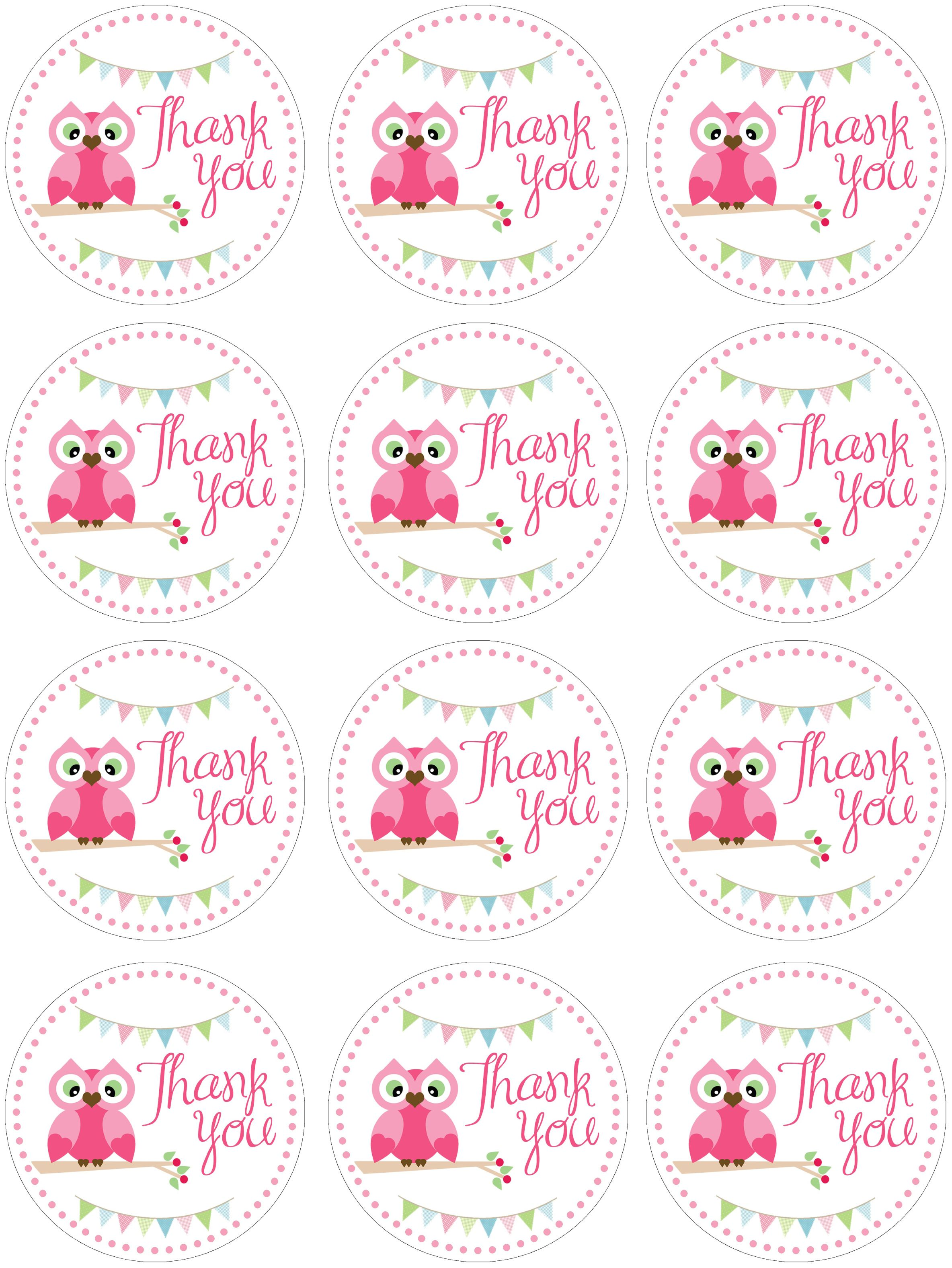 Owl themed birthday party with free printables owl for Free printable baby shower favor tags template