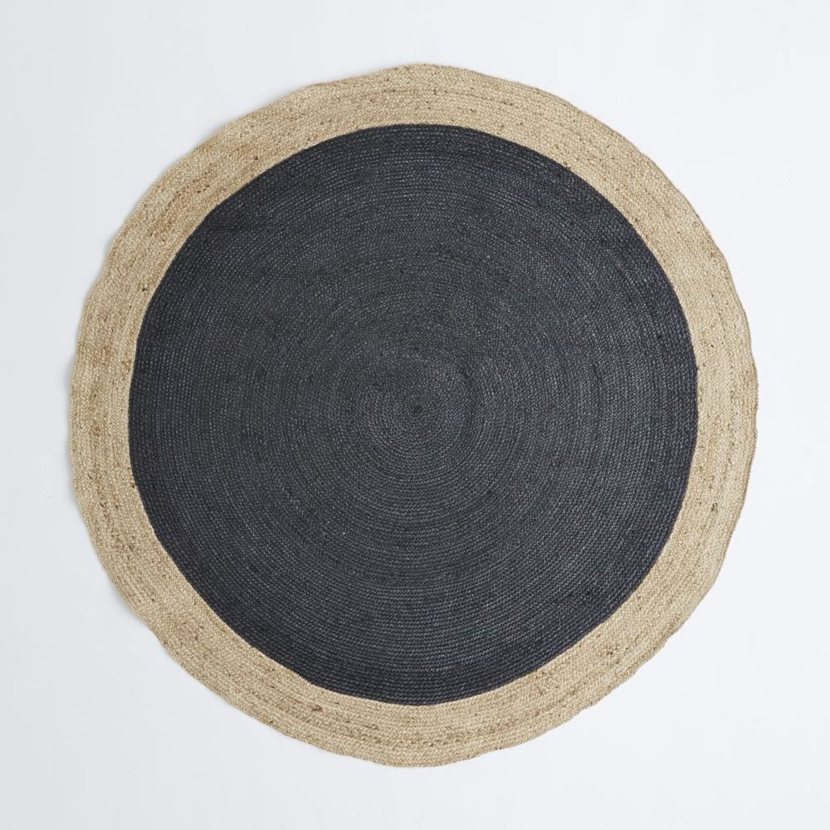 bordered round jute rug - slate | playing house.. | pinterest