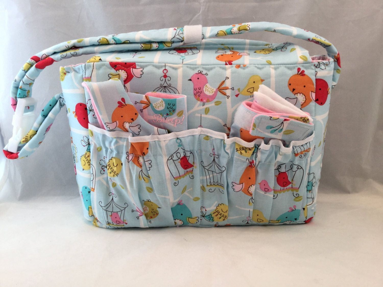 Doll size Diaper Bags in Tweet! with Pink and White Check Lining and all the goodies by GSRdolls on Etsy