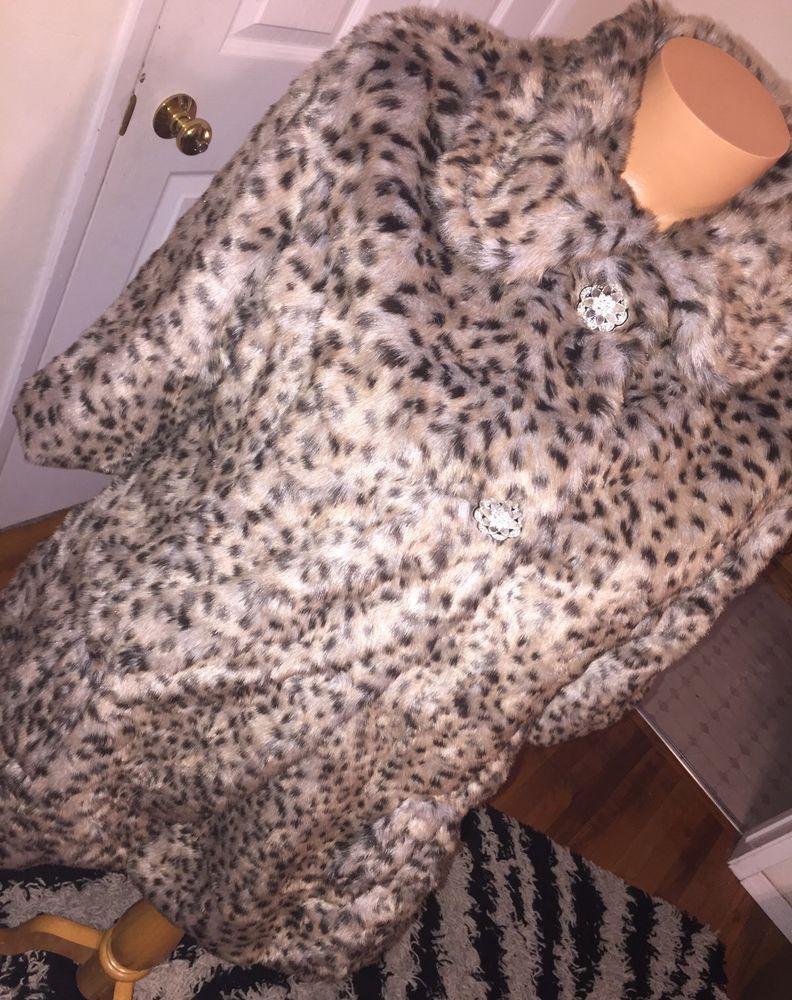 The Buckle Daytrip Cheetah Leopard print faux fur coat 3 quarter sleeves M SALE #Daytrip #fauxfurcoatjacket