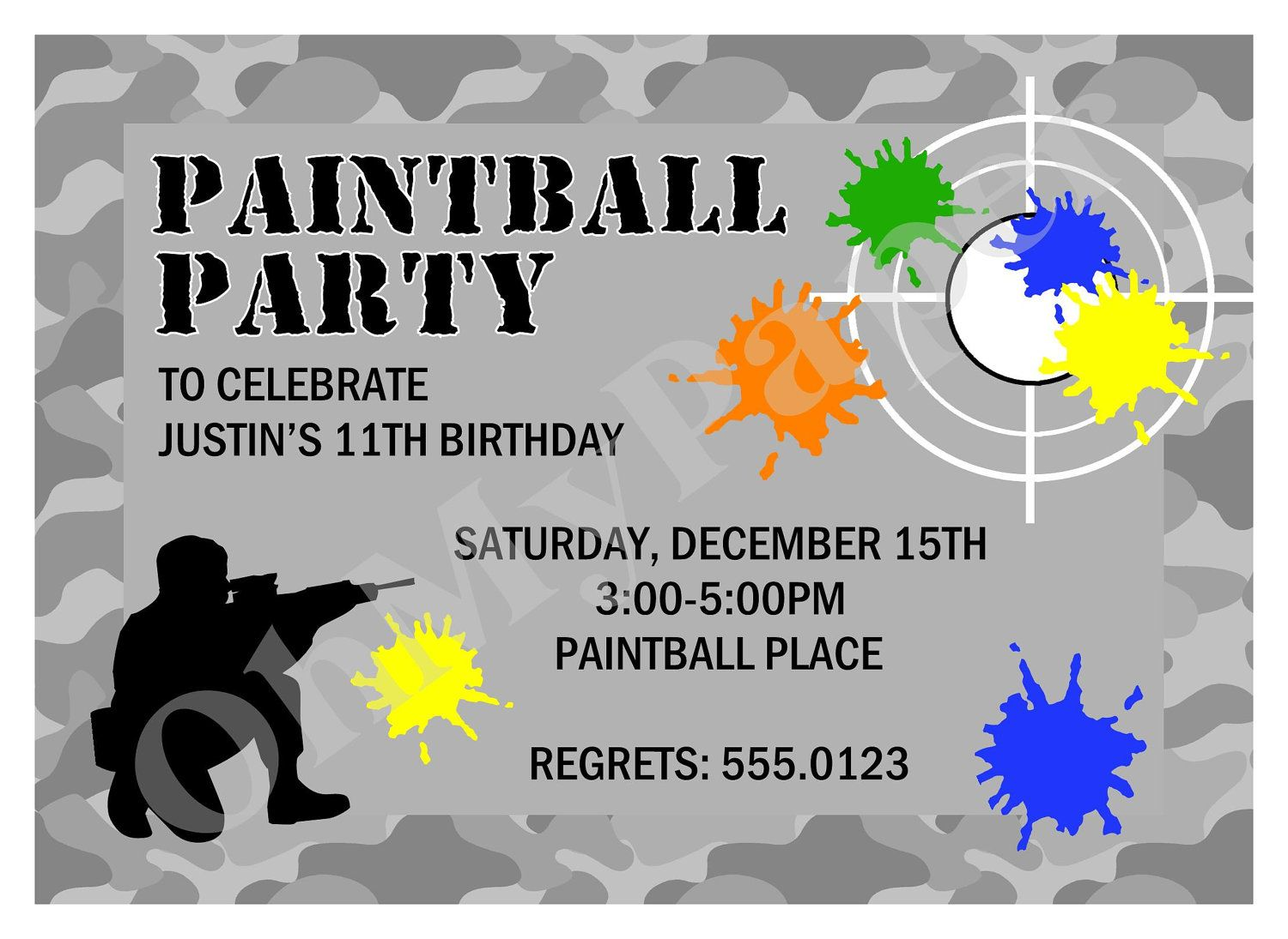 Free Paintball Party Invitation Template Birthday ideas