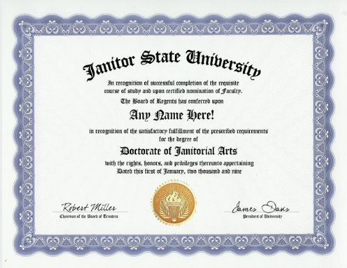 Janitor Janitorial Arts Degree Custom Gag Diploma Doctorate   Another Word  For Janitor  Another Word For Janitor