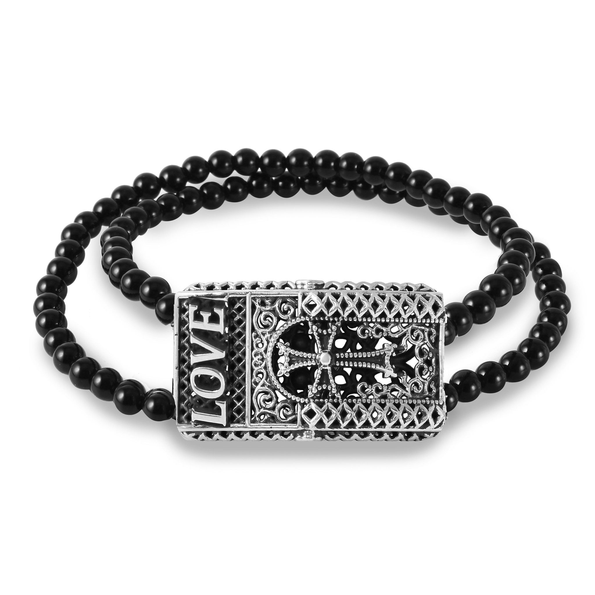 3D love polished black agate bead 4mm bracelet
