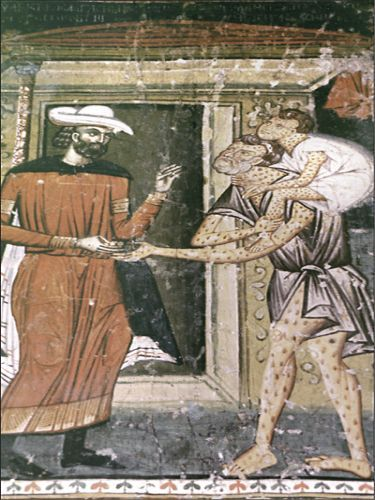 """""""The blind man and the paralytic boy of Lesnovo"""", a fresco in St Archangel Michael's Church, Lesnovo Monastery, Macedonia, 1347.The Church of Lesnovo Monastery was built on the foundations of the older shrine that existed in the 11th century during the time of the Vulnerable hermit Gabriel of Lesnovo. The Church is dedicated to St. Archangel Gabriel and hermit Gabriel of Lesnovo."""
